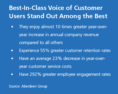 Best-In-Class Voice of Customer Users Stand Out